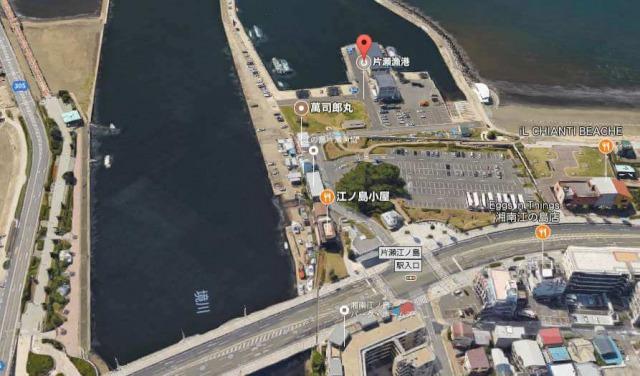片瀬漁港の鮮魚直売所周辺地図