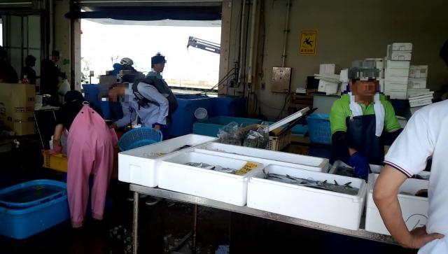 片瀬漁港の鮮魚直売所内観