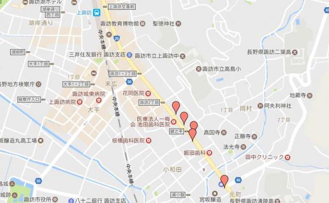 諏訪五蔵の地図